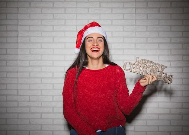 Rir, mulher, com, feliz natal, sinal