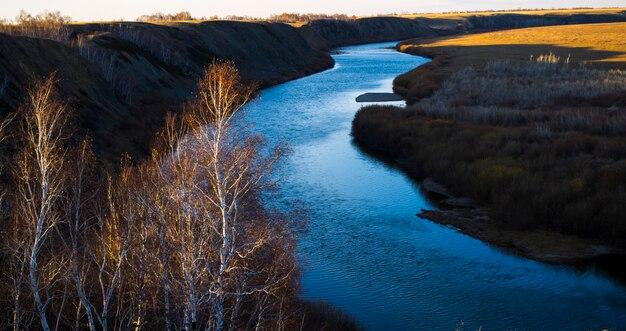 River river ishim landscape a paisagem do cazaquistão