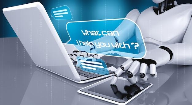 Robô ai usando o computador para conversar com o cliente.