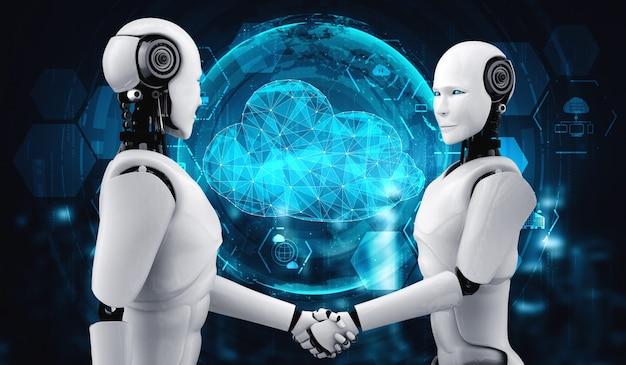 Robô ai usando tecnologia de computação em nuvem para armazenar dados no servidor online. conceito futurista de armazenamento de informações em nuvem analisado por processo de aprendizado de máquina. ilustração de renderização 3d.
