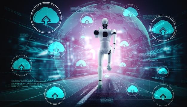 Robô ai usando tecnologia de computação em nuvem para armazenar dados no servidor online