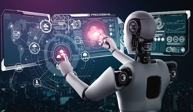 Robô ai usando tecnologia de computação em nuvem para armazenar dados no servidor online.