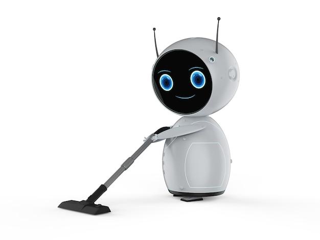 Robô amigável de renderização 3d com aspirador de pó