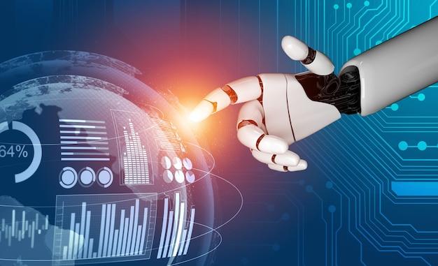 Robô analisando dados de negócios