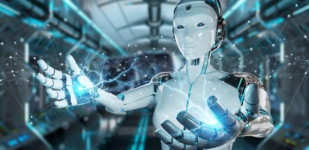 Robô branco usando conexões de rede digital flutuante com pontos e linhas de renderização em 3d