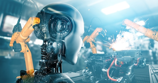 Robô ciborgue mecanizado da indústria e braços robóticos na futura fábrica