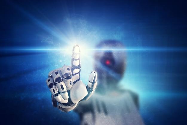 Robô clicando no botão de luz virtual
