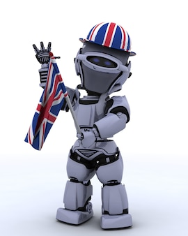 Robô com chapéu e flaf do reino unido