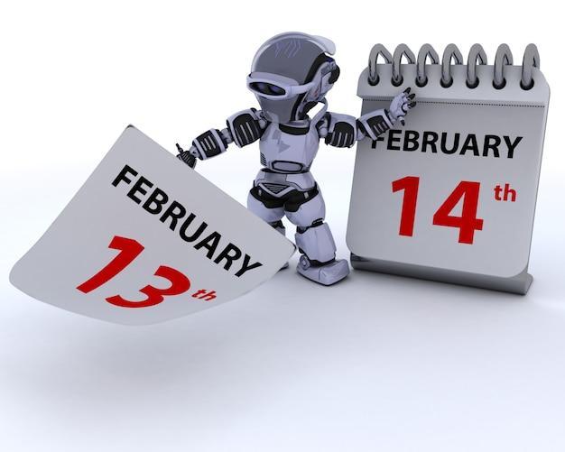 Robô com um calendário, 14 de fevereiro