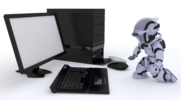 Robô com um computador