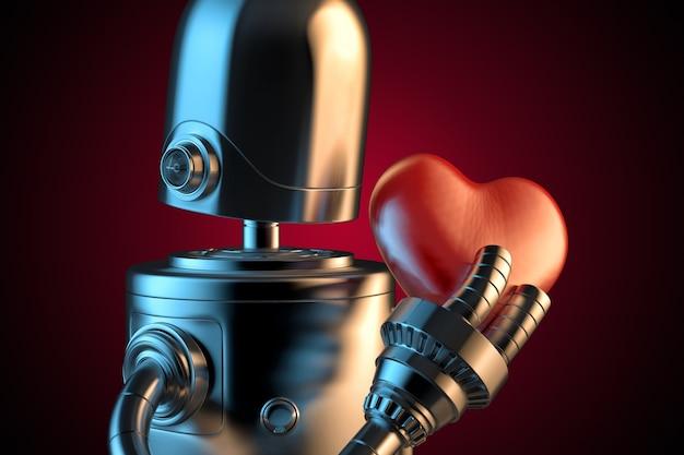 Robô com um coração vermelho.