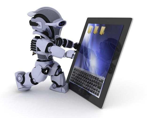 Robô com um tablet digital