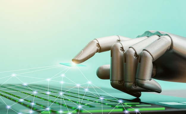 Robô, conceito, ou, robô, tecnologia, mão, chatbot, apertando, teclado computador