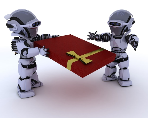 Robô dando um presente para outro robô