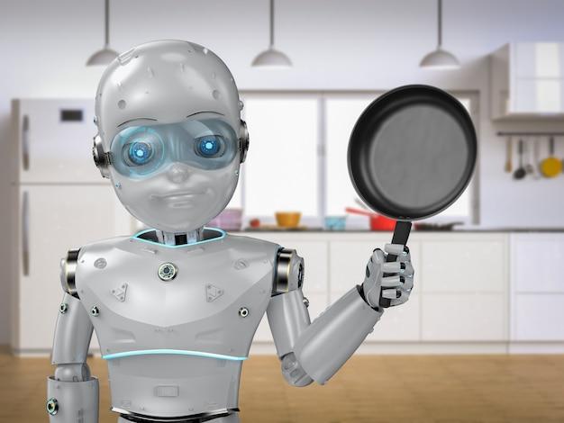 Robô de chef de renderização 3d ou menino robô assistente cozinhando na cozinha