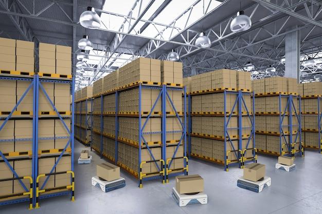 Robô de depósito de renderização 3d trabalhando na fábrica