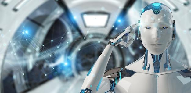 Robô de homem branco usando renderização 3d de conexão de rede digital