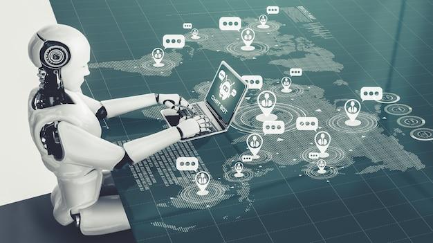 Robô de ia usando computador para conversar com o cliente