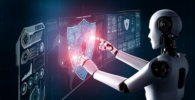 Robô de ia usando segurança cibernética para proteger a privacidade das informações