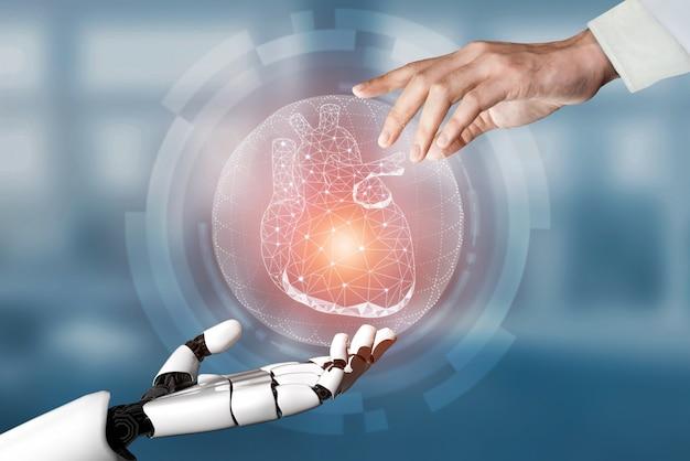 Robô de inteligência artificial médica de renderização em 3d