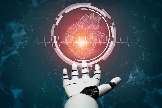 Robô de inteligência artificial médica renderização 3d trabalhando no futuro hospital. cuidados de saúde protéticos futuristas para o conceito de tecnologia biomédica e paciente.