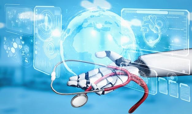 Robô de inteligência artificial médica trabalhando no futuro hospital