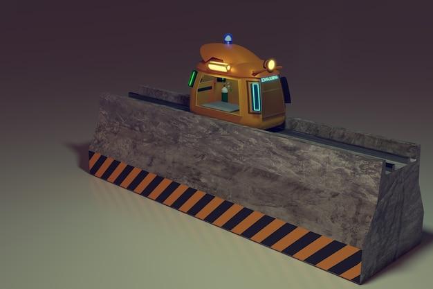 Robô de levantamento trabalhando para levar a caixa de pacote para um caminhão pequeno e entrega, renderização de ilustração 3d