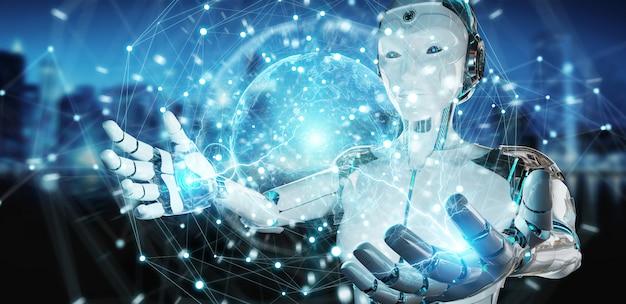 Robô de mulher branca usando renderização 3d de interface de tela digital
