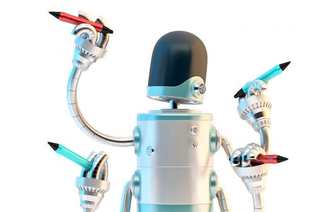 Robô de quatro braços com lápis. conceito de multitarefa. ilustração 3d