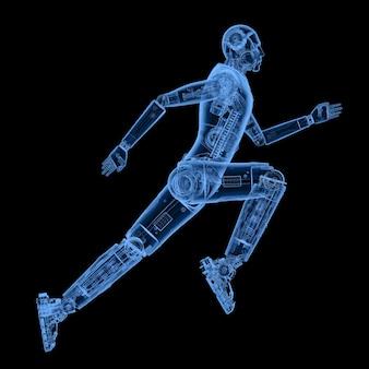 Robô de raio x de renderização em 3d correndo ou pulando