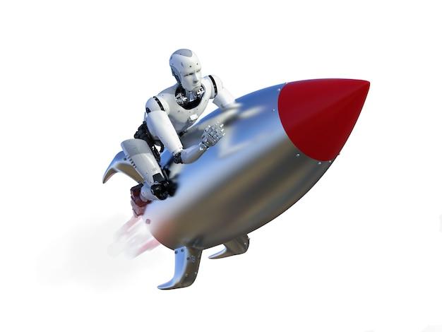 Robô de renderização 3d andando no ônibus espacial com velocidade