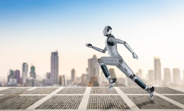 Robô de renderização 3d correndo ou pulando com o fundo da cidade