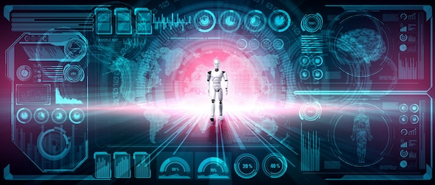 Robô de renderização 3d humanóide analisando big data usando o pensamento ai