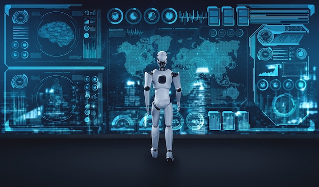 Robô de renderização 3d humanóide analisando big data usando o pensamento de ia