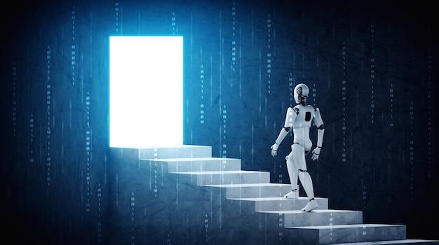 Robô de renderização 3d humanóide sobe escada para o sucesso