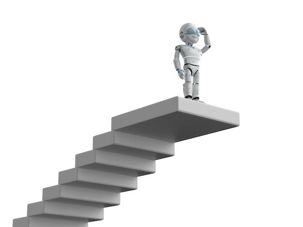 Robô de renderização 3d procurando oportunidade no topo das escadas
