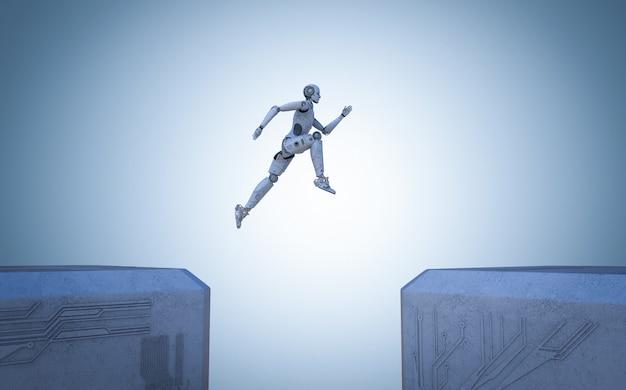 Robô de renderização 3d pula entre os edifícios