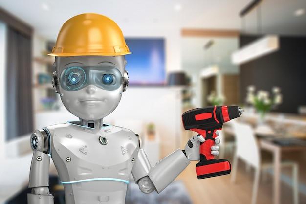 Robô engenheiro de renderização 3d usando capacete de segurança amarelo com chave de fenda elétrica