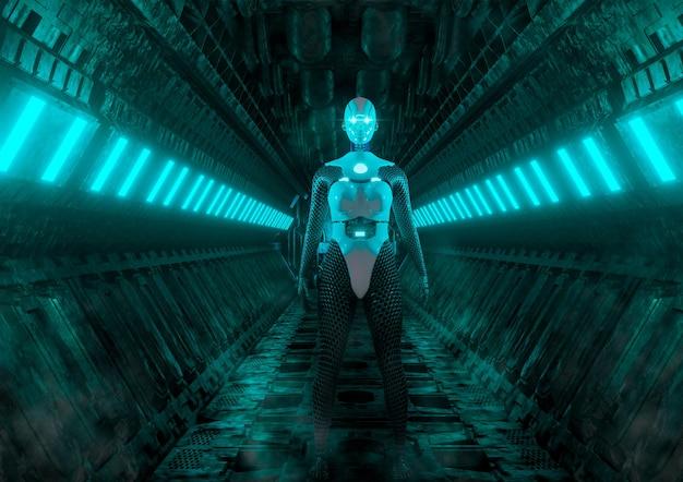 Robô feminino avançado em corredor de nave espacial na cena de ficção científica de jogos e filmes. renderização 3d