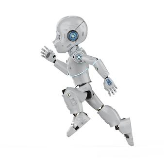 Robô fofo de renderização em 3d ou robô de inteligência artificial com personagem de desenho animado