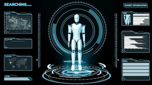 Robô futurista, análise e programação de big data cgi de inteligência artificial