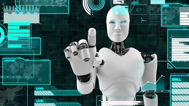 Robô futurista com inteligência artificial