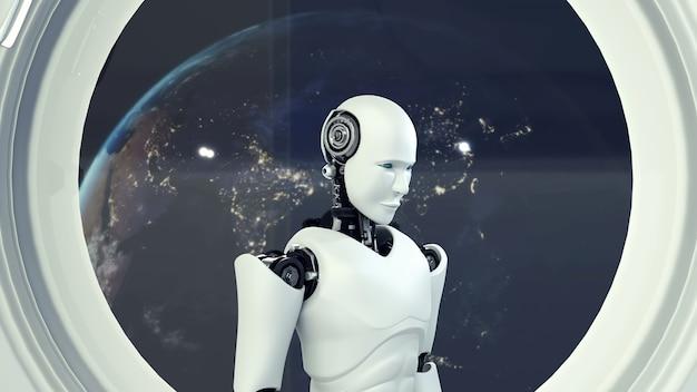 Robô futurista dentro de uma nave espacial