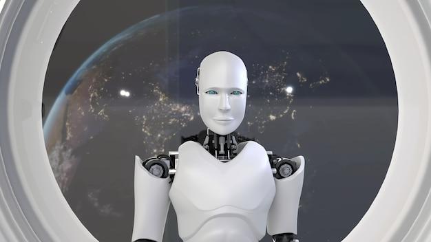Robô futurista, inteligência artificial cgi dentro de uma nave espacial no universo espacial