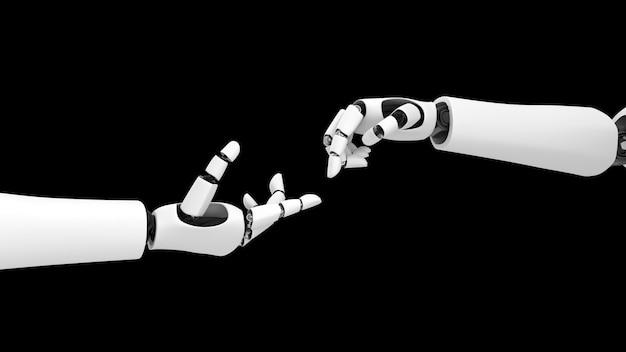 Robô futurista, inteligência artificial cgi em fundo preto