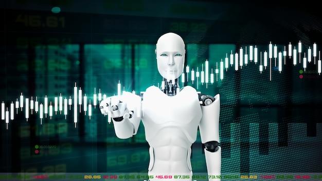 Robô futurista, inteligência artificial cgi para negociação na bolsa de valores