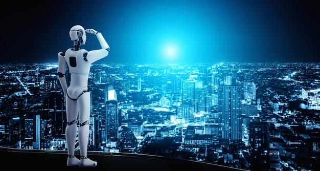 Robô futurista olhando o panorama da cidade