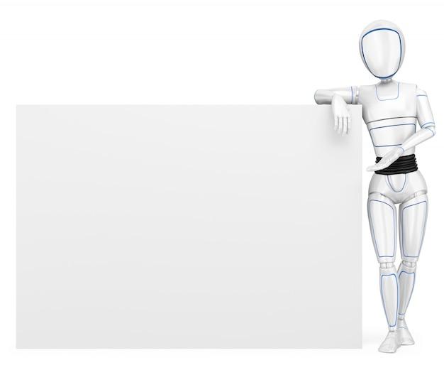 Robô humanóide 3d, apoiando-se em um cartaz em branco