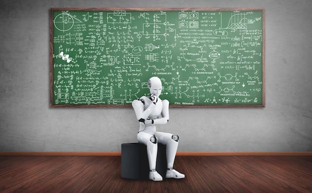 Robô humanóide ai analisando fórmulas matemáticas e ciências