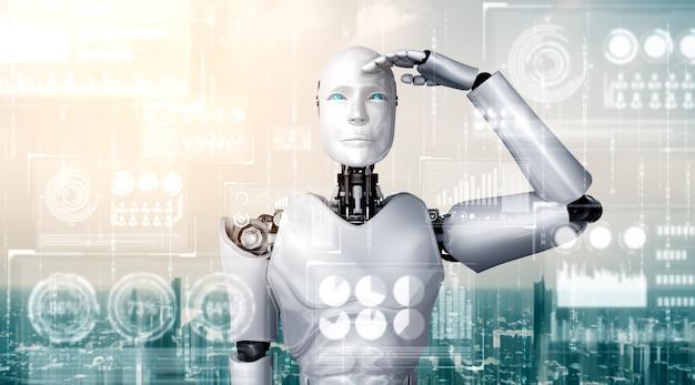 Robô humanóide ai olhando para a tela do holograma mostrando o conceito de big data